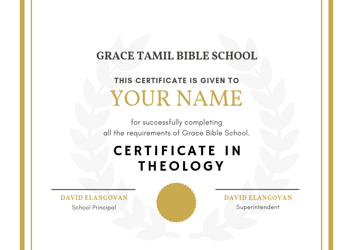 Tamil Bible Certificate in Theology Free Course - Tamil Christian